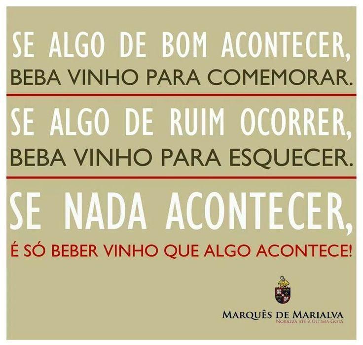 Excepcional É só beber vinho - Frase para Facebook RF55