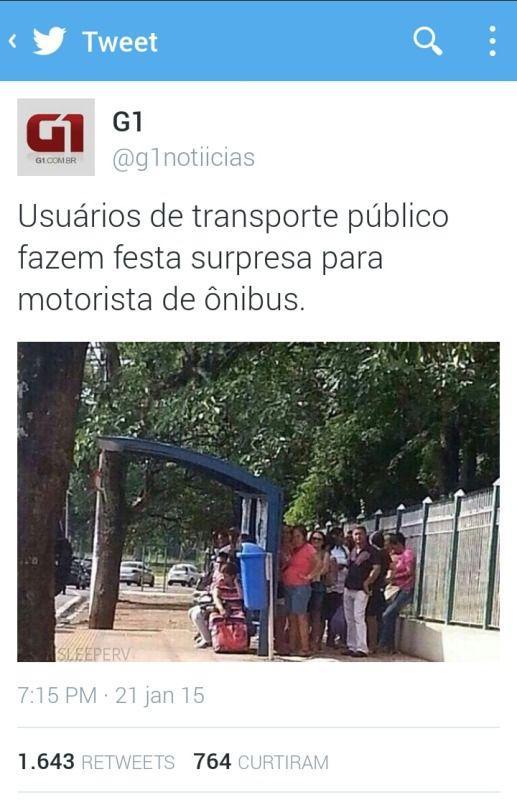 de transporte público fazem festa surpresa para motorista de ônibus