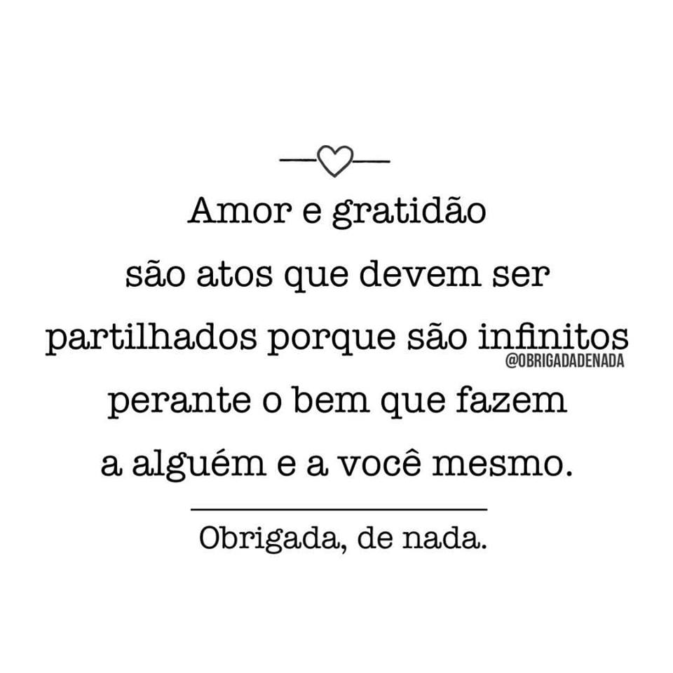 Amor e gratidão são atos